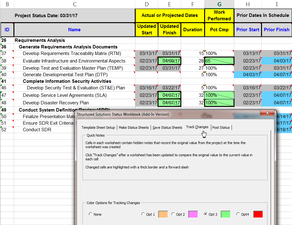 Status Workbook Example - Tracked Changes